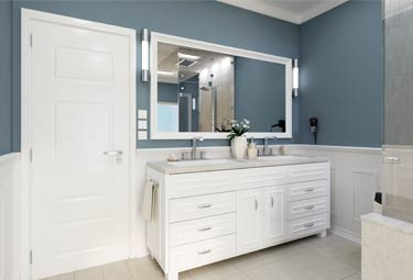 Custom Mirror in the bathroom of a luxury estate home | Aldecor Custom Framing & Gallery - Naples, Florida